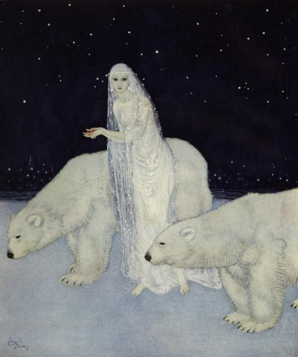 Glistening White. Illustration to The Dreamer of Dreams by Marie, Queen of Roumania -  by Edmund Dulac