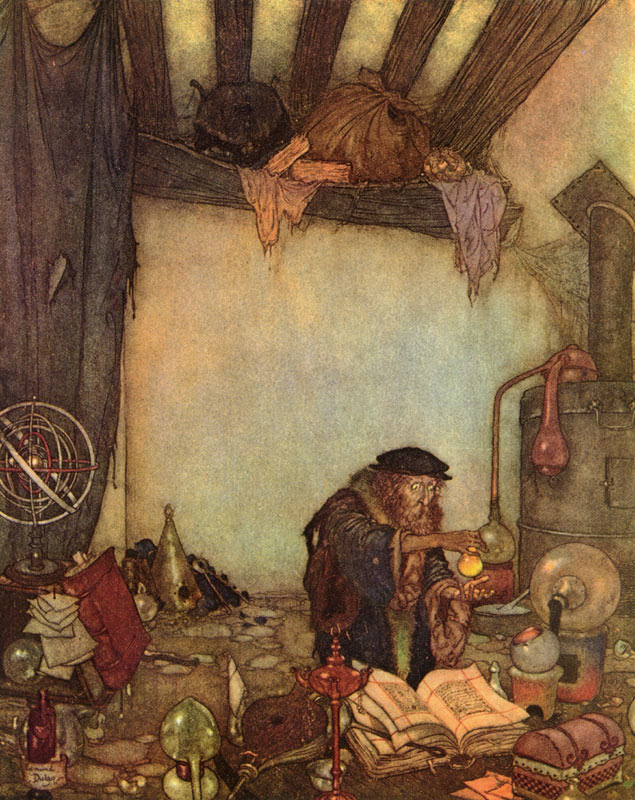 Gold! Gold! The Alchemist shouted. Edmund Dulac. The Art of Myth and Fairy Tale