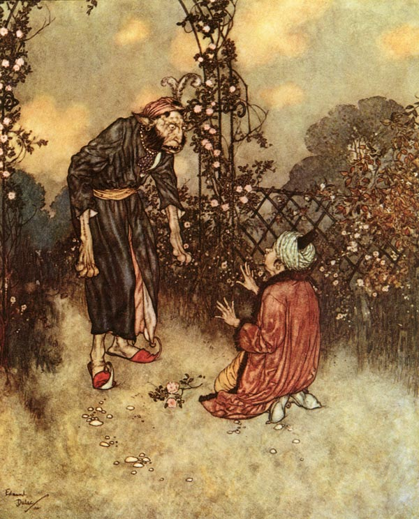 The Beast confronts Beauty's father who has plucked a rose.