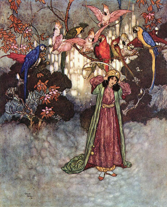Beauty in the Garden. Illustration to Beauty and the Beast -  by Edmund Dulac