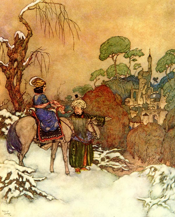 Beauty Saw the Distant Castle. Illustration to Beauty and the Beast -  by Edmund Dulac