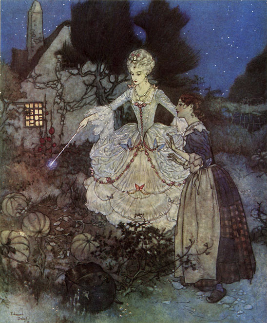 Cinderella and her Fairy Godmother, from Edmund Dulac's Picture book for the Red Cross.