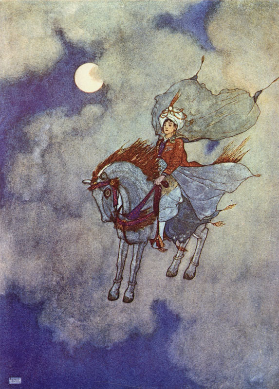 Arabian Nights: As he descended, daylight faded from view -  by Edmund Dulac