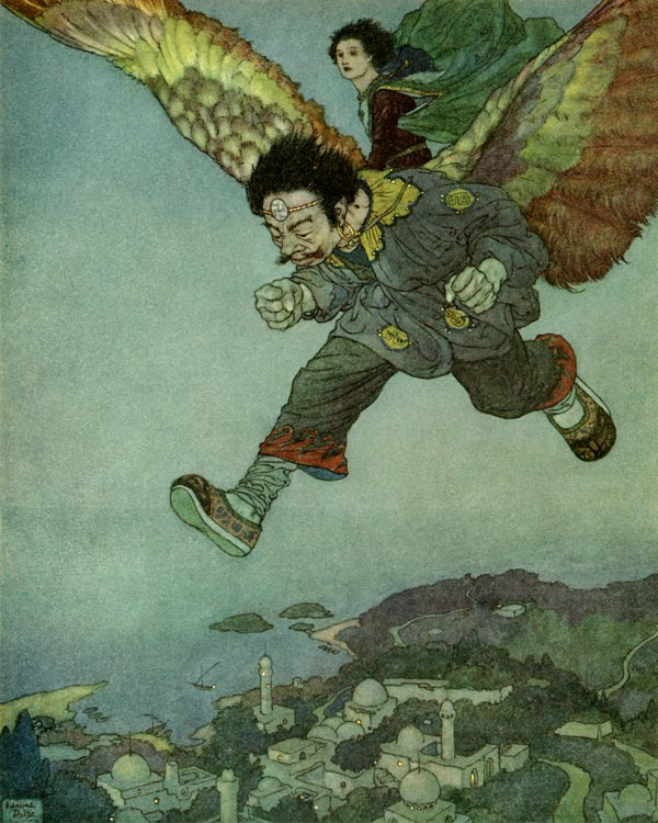 The East Wind kissed him on the forehead.  Garden of Paradise illustration by Edmund Dulac