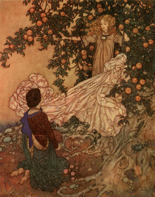 Hidden in the Branches    Garden of Paradise  Edmund Dulac illustration