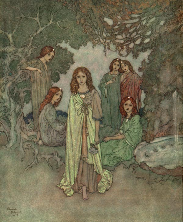 The Fairy of the Garden: Edmund Dulac illustration to Garden of Paradise. Edmund Dulac Art Print, artsycraftsy.com