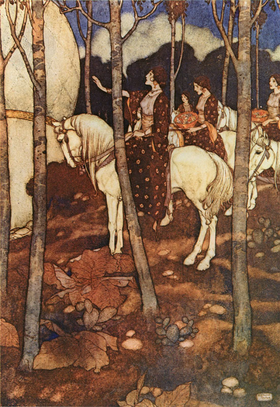 Maidens on white horses, with heads unveiled, bearing in their hands baskets of precious stones. Arabian Nights illustration by Edmund Dulac