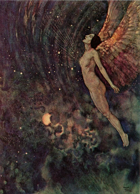 None sing so wildly well as the angel Israfel -  Illustration to the Poem by Edgar Allan Poem, Edmund Dulac