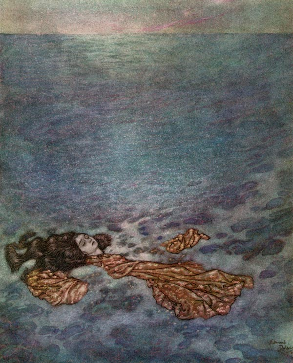 Dissolving in Foam    The Little Mermaid  Edmund Dulac illustration