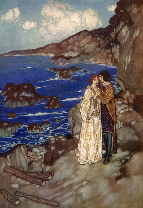 Ferdinand and Miranda. Illustration to The Tempest -  by Edmund Dulac