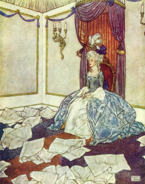 Edmund Dulac, She Had Read All the Newspapers in the World. Illustration to The Snow Queen by Hans Christian Andersen