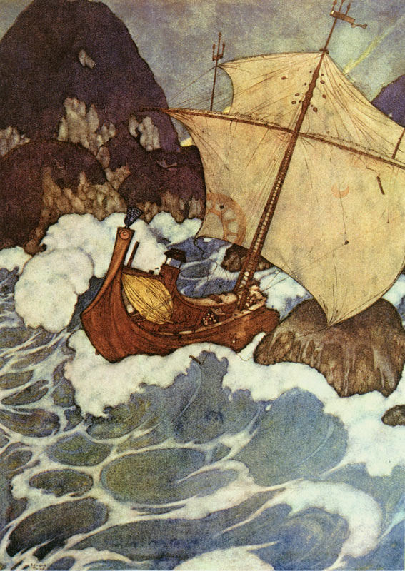 The ship struck upon a rock, Edmund Dulac, Arabian Nights
