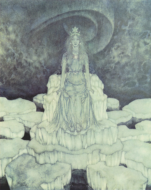Edmund Dulac, The Snow Queen on Her Throne of Ice