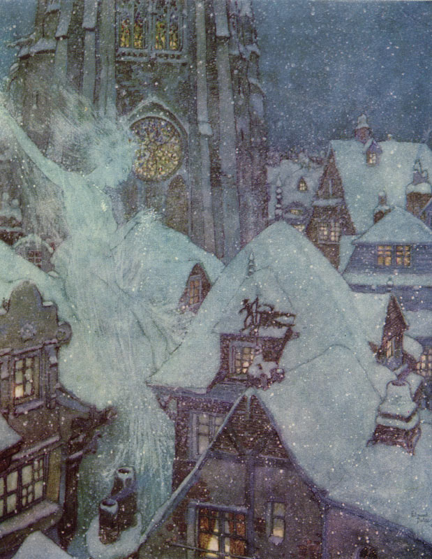 Edmund Dulac, The Snow Queen Flies Through the Winter's Night. Illustration to The Snow Queen by Hans Christian Andersen