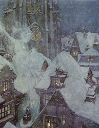 Edmund Dulac, the Snow Queen flies through a winter's night