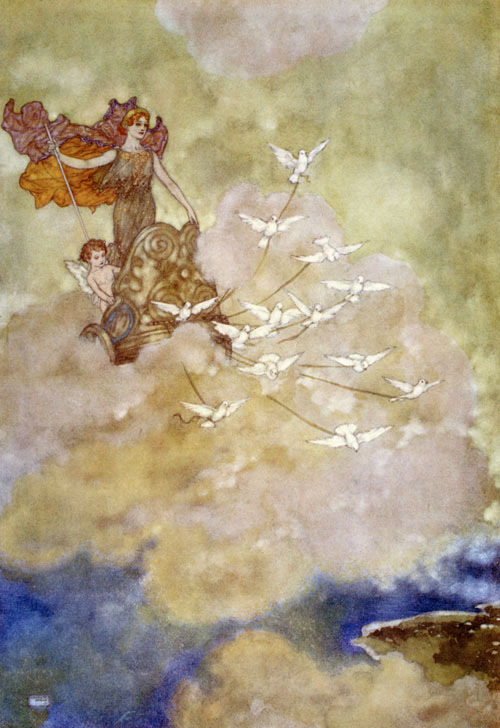 Venus in her Chariot    The Tempest  Edmund Dulac illustration