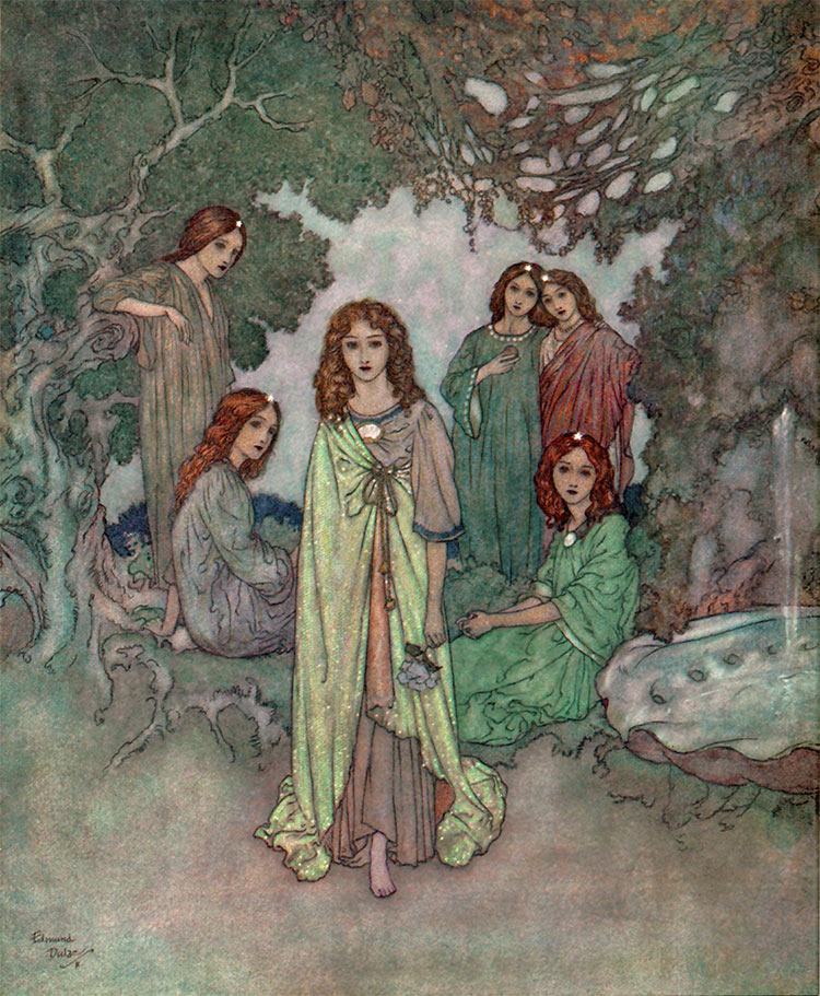 Fairy of the Garden kissed him on the forehead.  Garden of Paradise illustration by Edmund Dulac