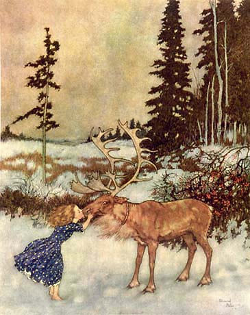 Edmund Dulac, Gerda Kissed the Reindeer on the Nose. Illustration to The Snow Queen by Hans Christian Andersen