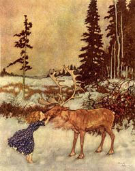 Edmund Dulac, Gerda kissed the reindeer