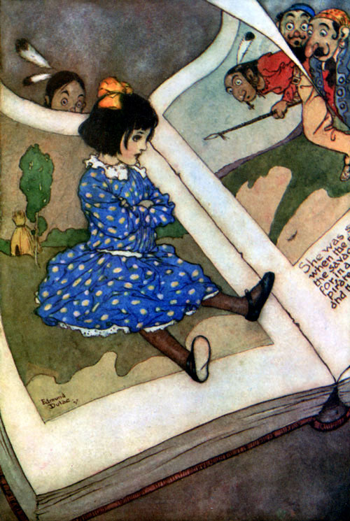 Little girl in a book