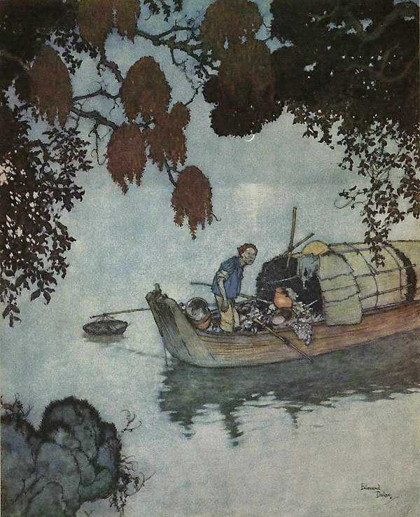 The Poor Fisherman Illustration to The Nightingale by Hans Christian Andersen -  by Edmund Dulac