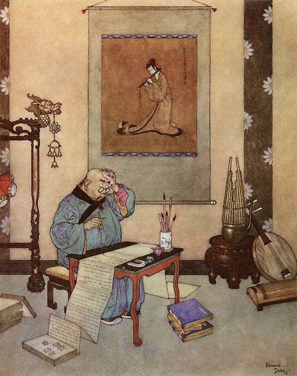 The music-master wrote five-and-twenty volumes about the artificial bird. Edmund Dulac, The Nightingale. The Art of Myth and Fairy Tale
