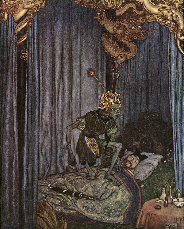Even Death Listened Illustration to The Nightingale by Hans Christian Andersen -  by Edmund Dulac