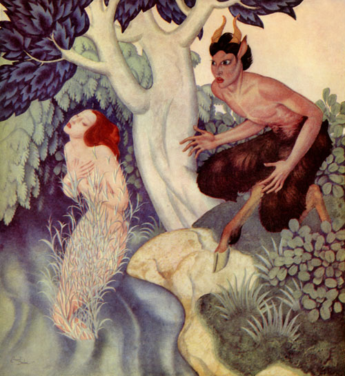 Pan fell in love with the nymph Syrinx, who had until then eluded the pursuit of both gods and satyrs. The nymphs of the river heard her prayers and turned her into marsh reeds.