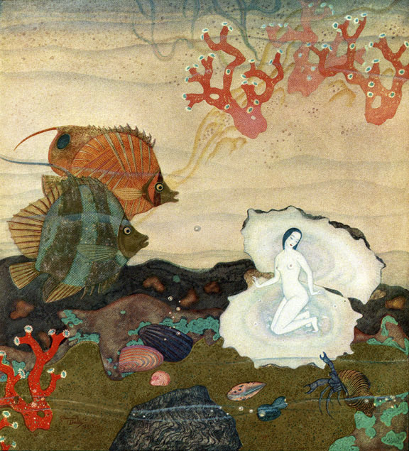 Birth of the Pearl. Illustration to Kingdom of the Pearl -  by Edmund Dulac