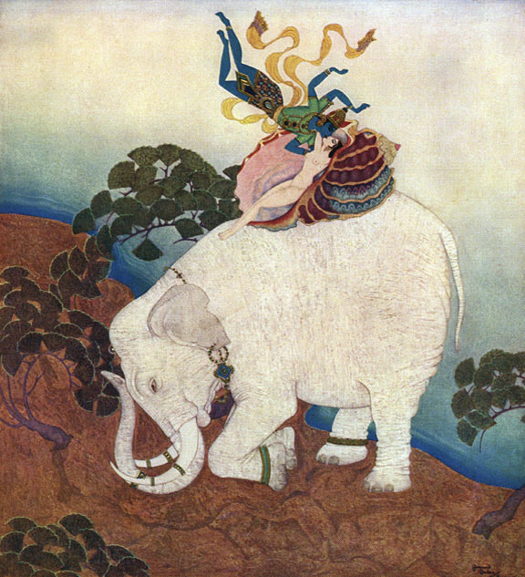 Pearl of the Elephant. Illustration to Kingdom of the Pearl -  by Edmund Dulac