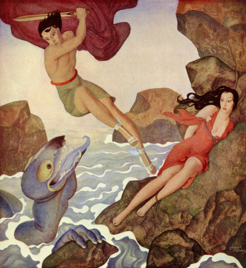 Perseus rescues Andromeda from the sea monster. Edmund Dulac art print from the illustrations to Gods and Mortals in love.