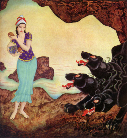 Psyche and Cerberus, by Edmund Dulac