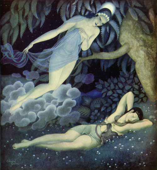 Selene and Endymion, an Edmund Dulac illustration to Gods and Mortals in Love. The Titan pantheon predates the Olympians and its goddess of the moon was Selene.  Selene fell in love with the mortal Endymion's beauty as he slept. She begged Zeus to put him into an eternal sleep where he remained ageless and beautiful forever.  Every night, she visited him where he slept. Selene and Endymion had fifty daughters.
