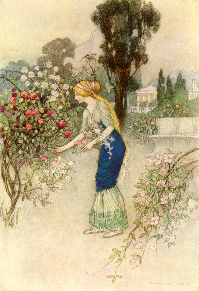 Emily in the Garden, Warwick Goble, The Works of Geoffrey Chaucer