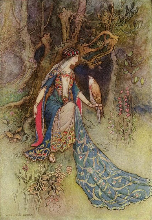 Cancee and the Falcon, Warwick Goble, The Works of Geoffrey Chaucer