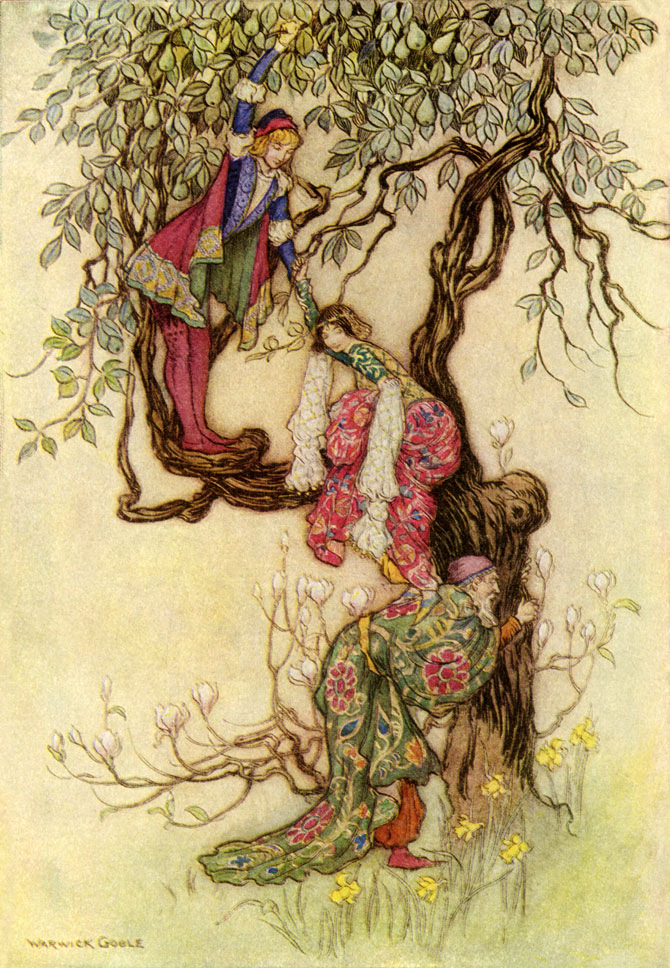 January Helping May into a Tree, Warwick Goble, The Works of Geoffrey Chaucer