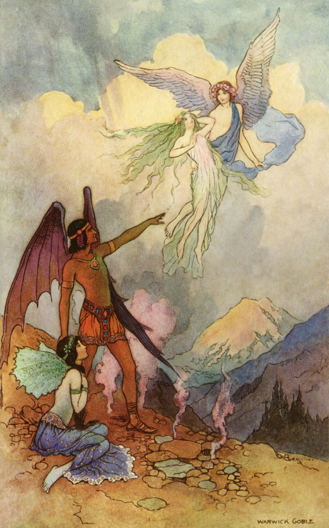 Four Fairies, Warwick Goble, The Book of Fairy Poetry