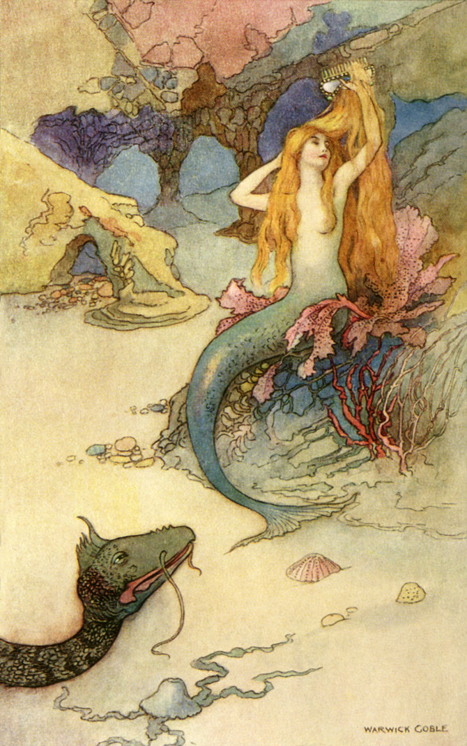 The Mermaid and the Dragon, Warwick Goble, The Book of Fairy Poetry