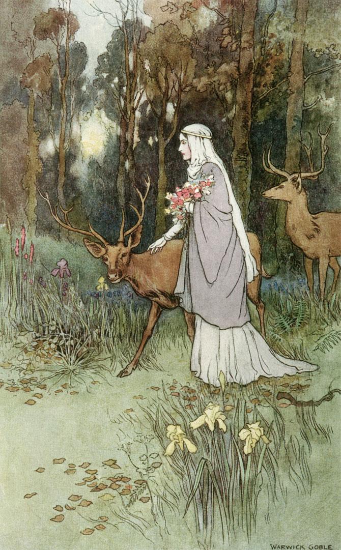 Kilmeny Deer, Warwick Goble, The Book of Fairy Poetry