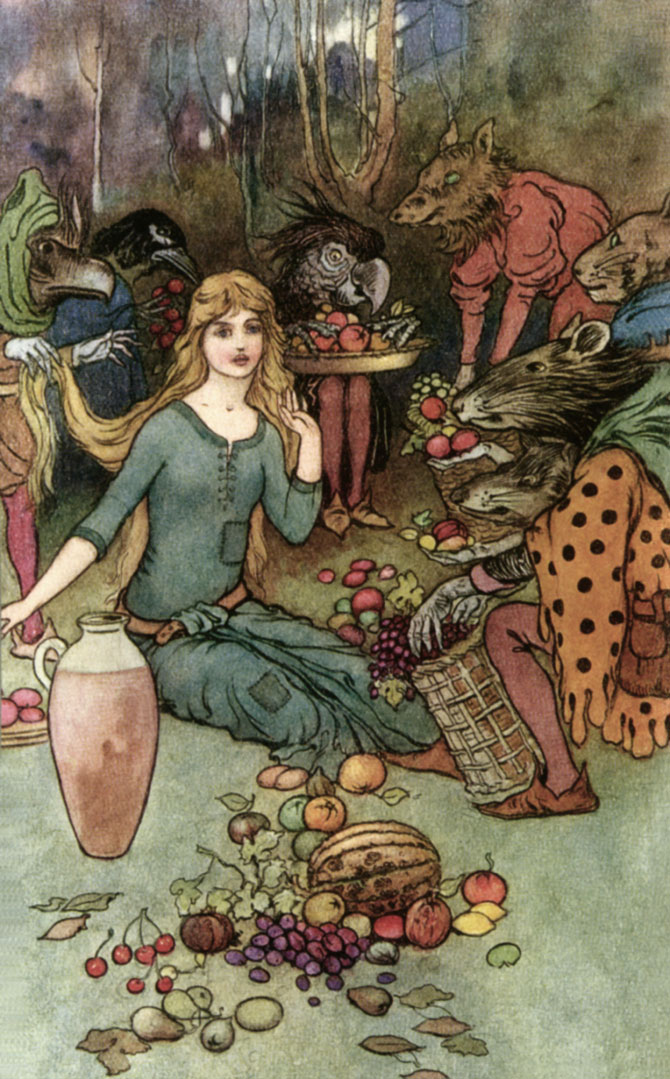 Goblin Market, Warwick Goble, The Book of Fairy Poetry