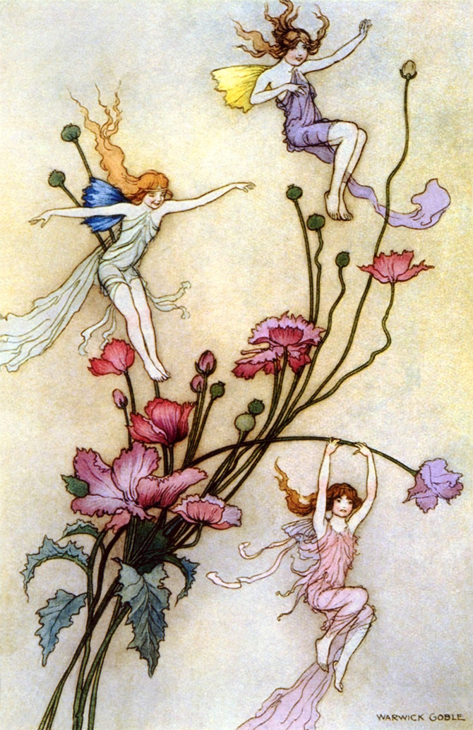Three Spirits Filled with Joy, Warwick Goble, The Book of Fairy Poetry