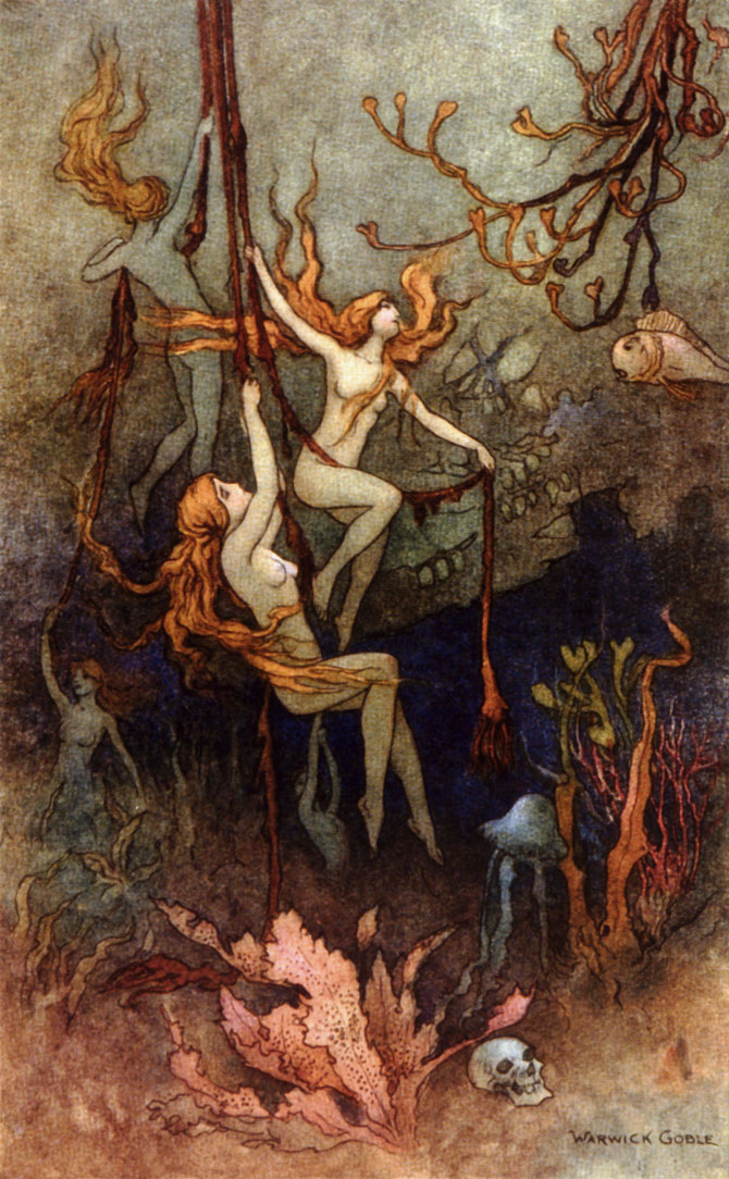 Sea Nymphs, Warwick Goble, The Book of Fairy Poetry