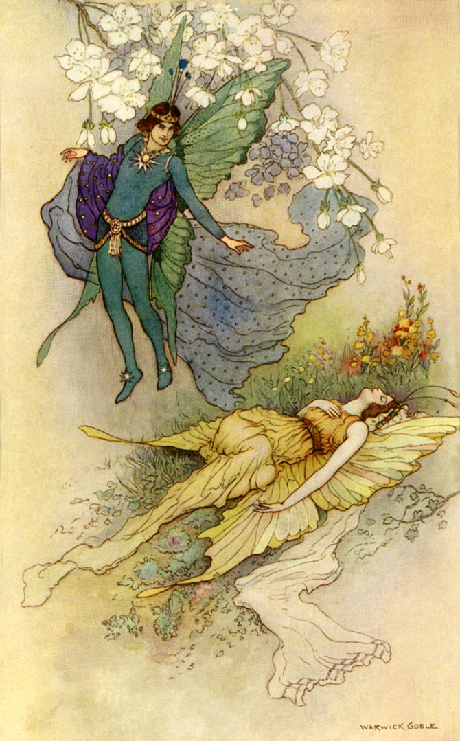 Wake, when some vile thing is near. Warwick Goble, The Book of Fairy Poetry