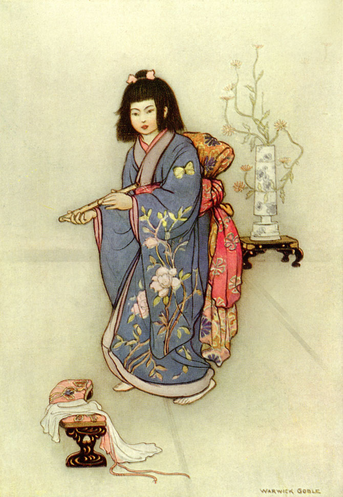 The Haunted Flute, Warwick Goble, Green Willow and Other Japanese Fairy Tales