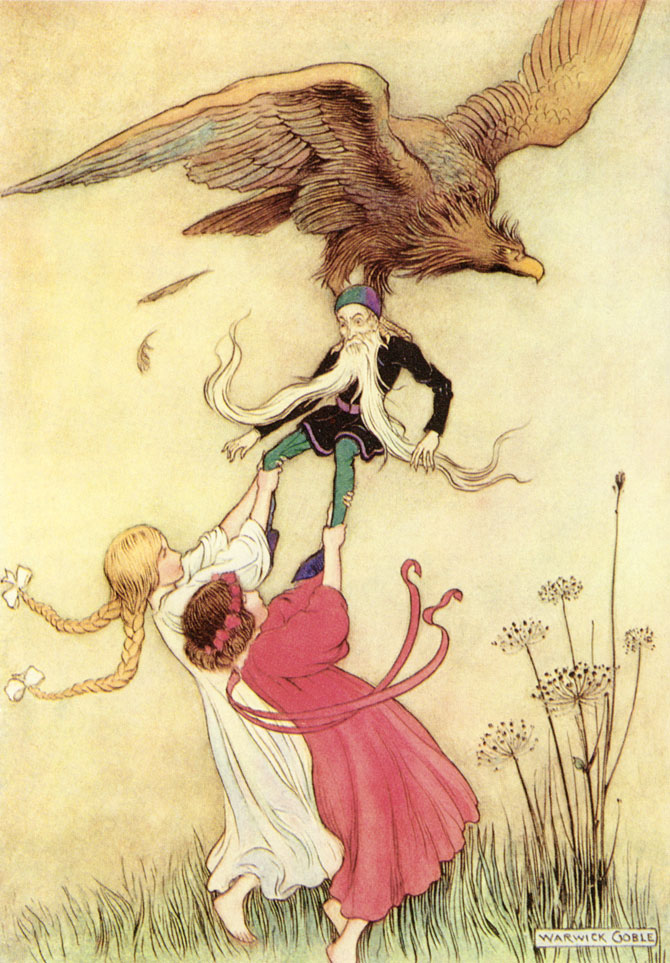 Snow White and Rose Red, Warwick Goble, The Fairy Book