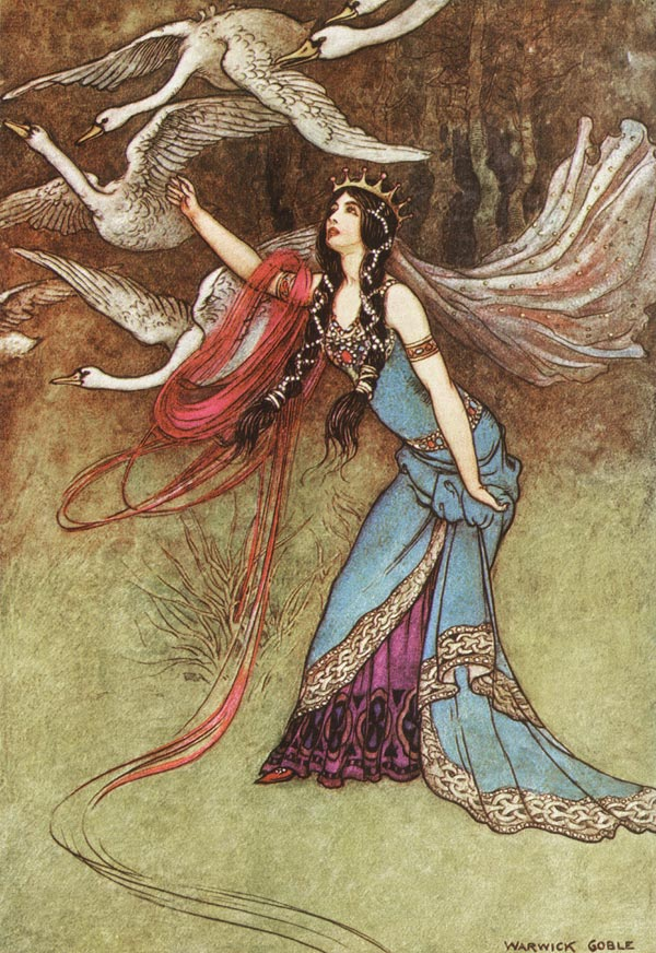 The Six Swans, Warwick Goble, The Fairy Book