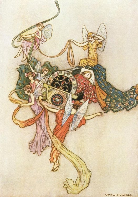 I was accordingly laid in a cradle of mother-of-pearl,  ornamented with gold and jewels. Warwick Goble, The Fairy Book