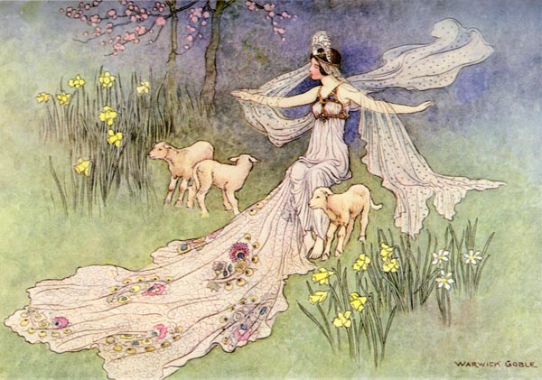 The beasts of prey were instant transformed into three little lambs, Warwick Goble, The Fairy Book