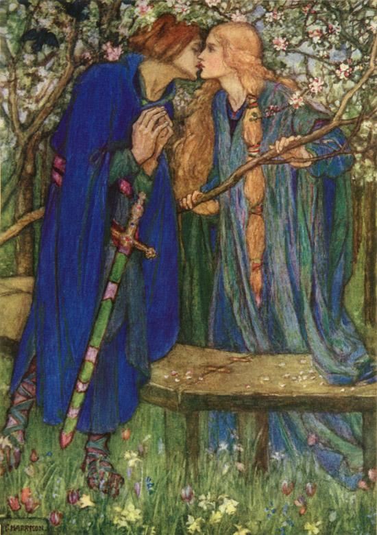 Blessed Kiss, illustration by Emma Florence Harrison to The Defence of Guenevere by William Morris