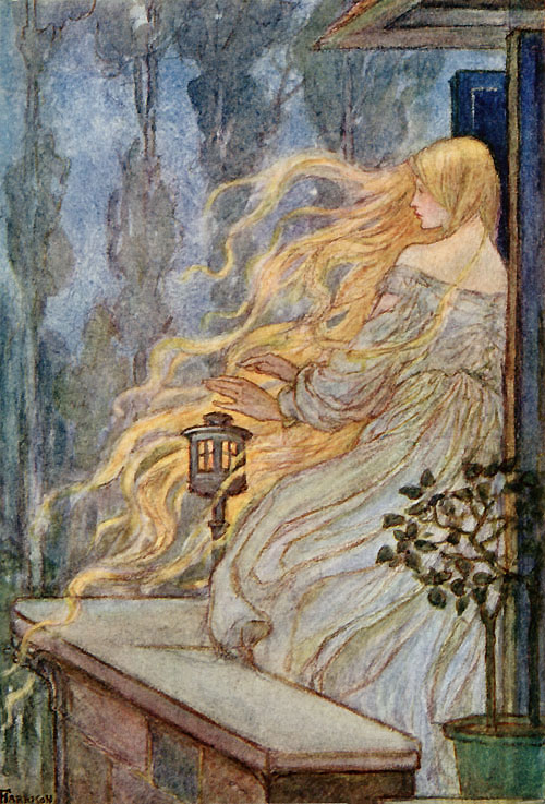 Rapunzel, illustration by Emma Florence Harrison to The Early Poems of William Morris